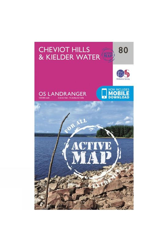 Ordnance Survey Active Landranger Map 80 Cheviot Hills and Kielder Water V16