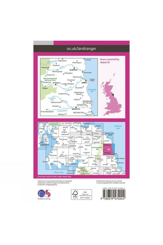 Ordnance Survey Active Landranger Map 81 Alnwick and Morpeth V16