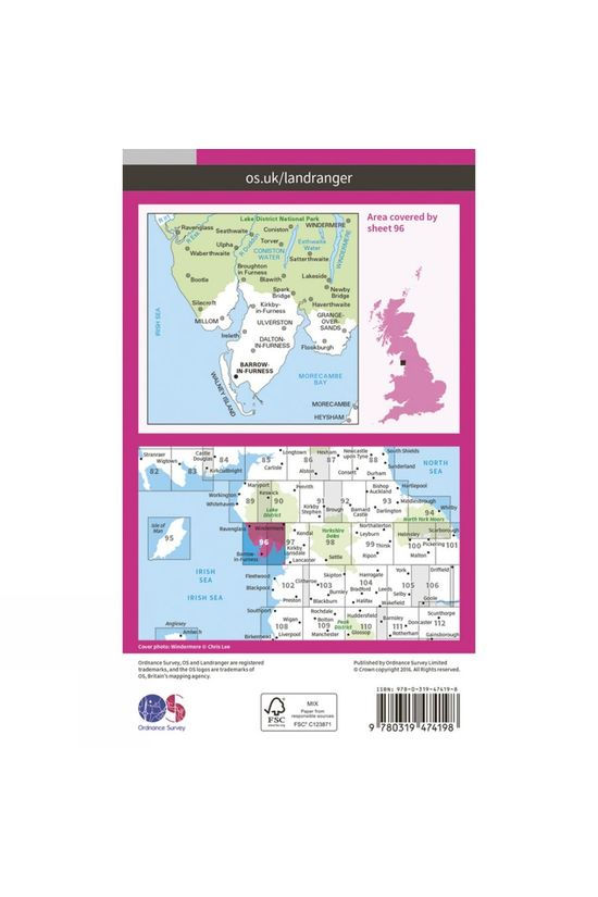 Ordnance Survey Active Landranger Map 96 Barrow-in-Furness and South Lakeland V16