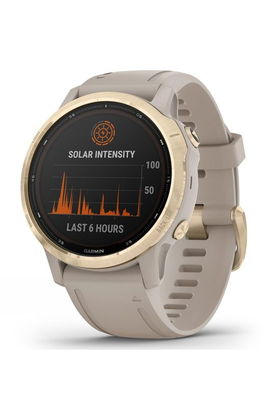 Garmin Fenix 6S Pro Solar Multisport GPS Watch Light Gold/Light Sand Band