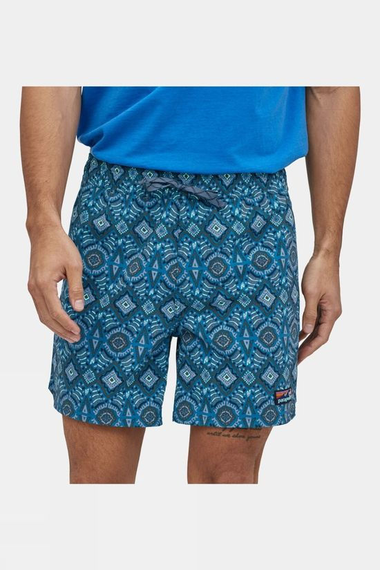 Patagonia Mens Stretch Wavefarer Volley Shorts 16in Honeycomb Small/Seaport