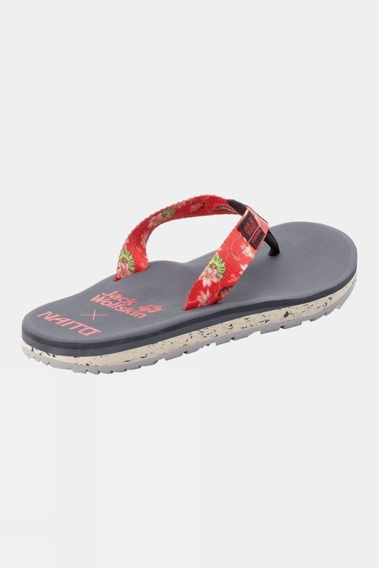 Jack Wolfskin Womens Beachster Flip Flop Tulip Red All Over