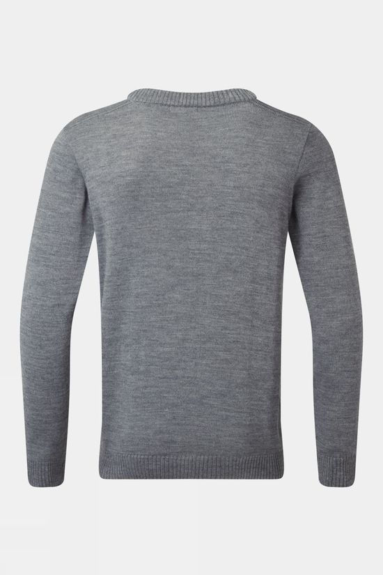 Henjl Men's Après Merino Crew Neck Sweater Melange Grey