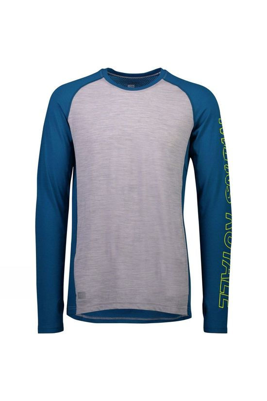 Mons Royale Mens Temple Tech LS Crew Oily Blue/Grey