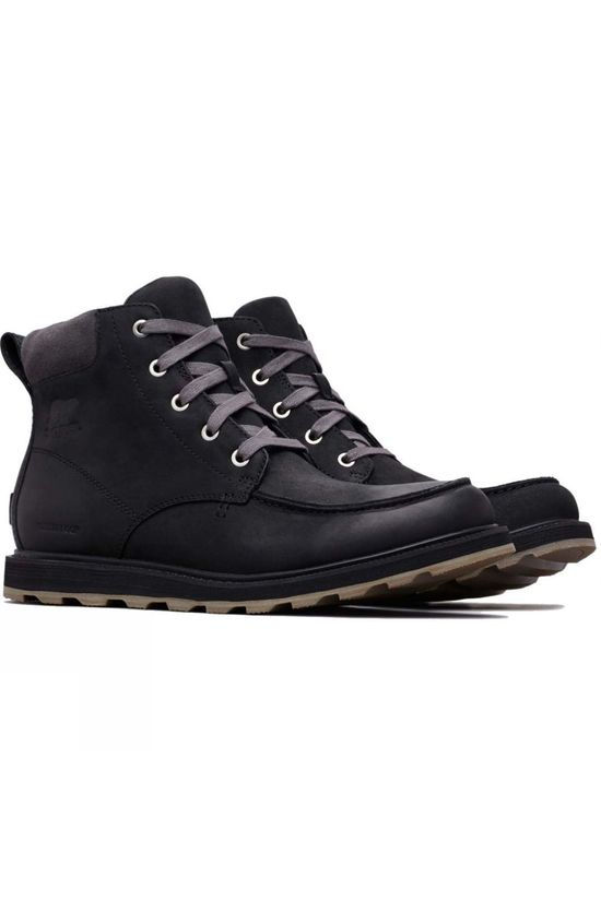 Sorel Mens Madson Moc Toe Waterproof Boot Black, Dark Grey