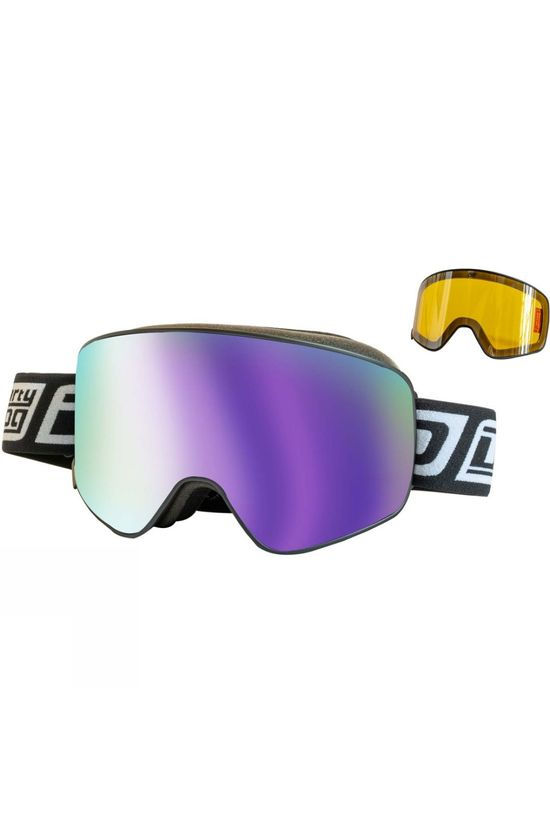 Dirty Dog Mens Mutant Legacy Goggle Purple Matte Black / Purple Mirror & Yellow Multi