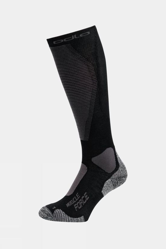 Odlo Unisex Muscle Force Active Warm Light Ski Socks Black - Odlo Graphite Grey