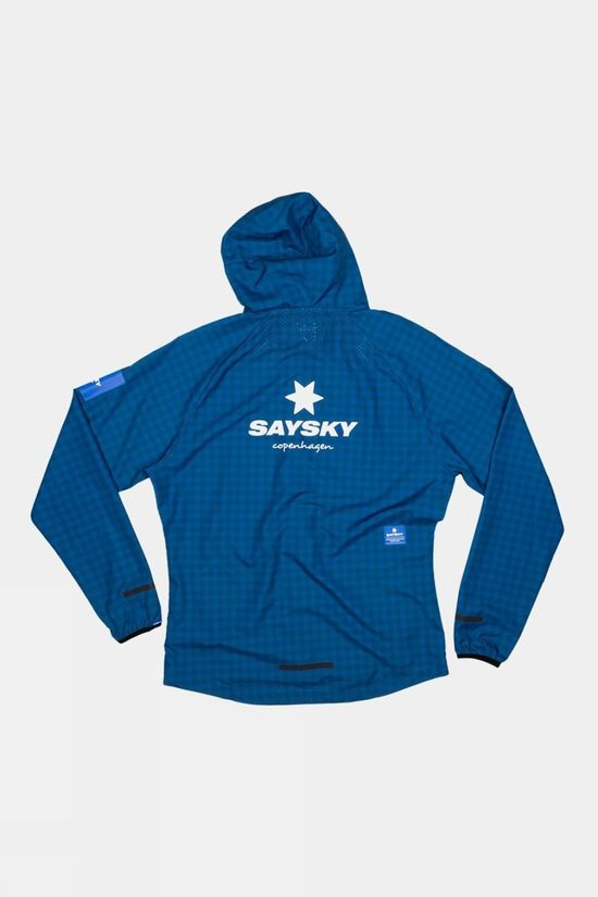Saysky Unisex Checker Pace Hooded Jacket Blue Checkerboard