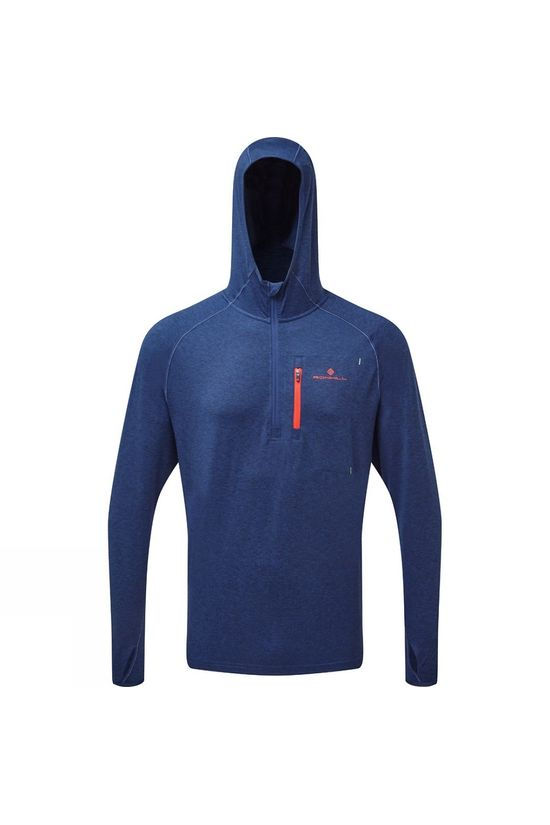 Ronhill Mens Ronhill Momentum Workout Hoodie Midnight Blue/Flame