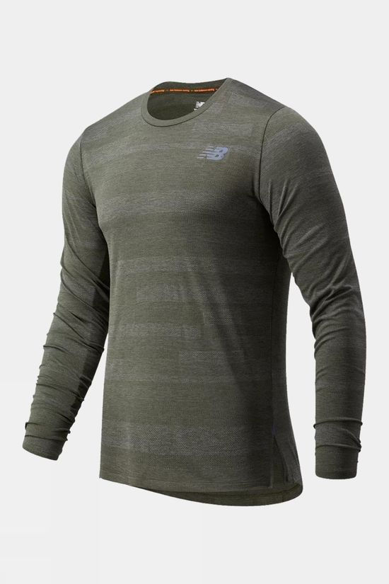 New Balance Mens Q Speed Fuel Jacquard Long Sleeve Tee Oak Leaf Green