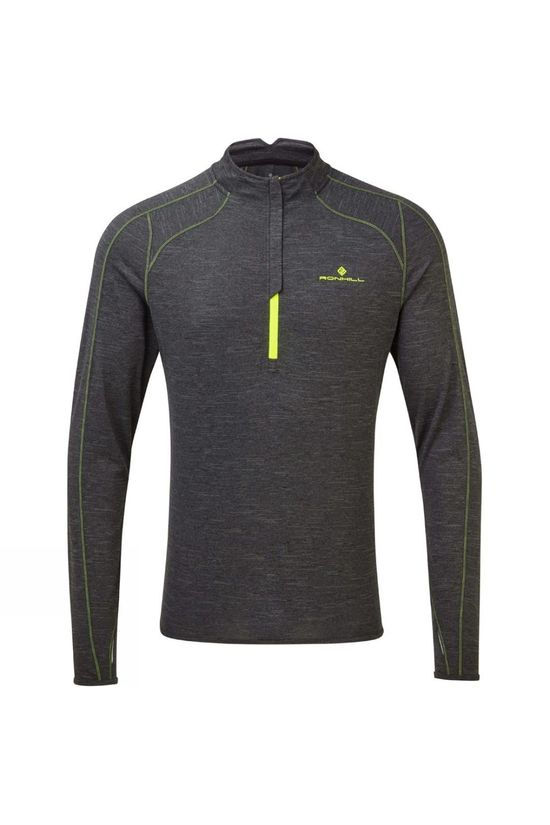 Ronhill Men's Tech Thermal 1/2 Zip Tee Charcoal Marl/Fluo Yellow