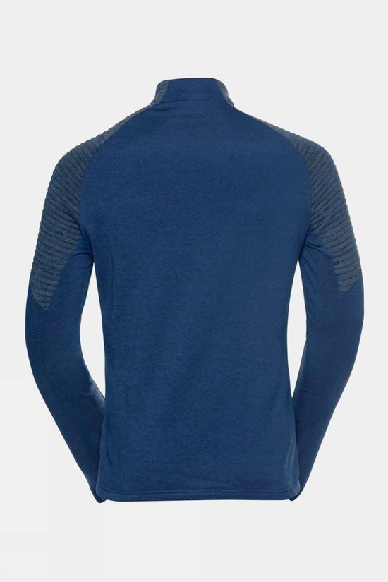 Odlo Mens Millenium Yakwarm Midlayer Top Estate Blue Melange