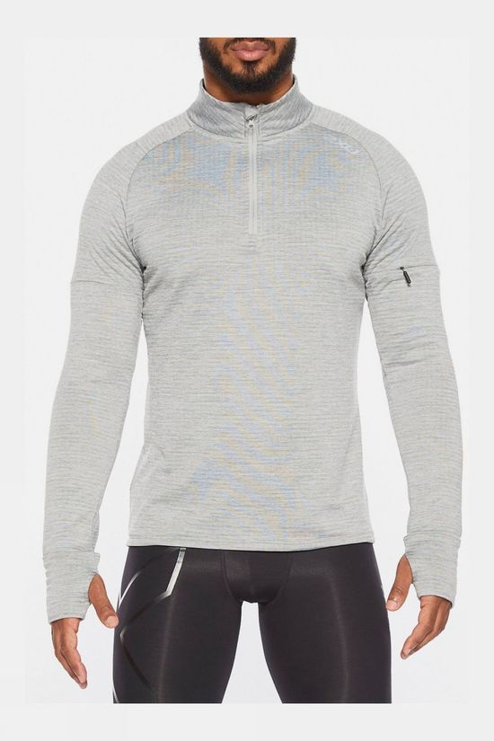 2XU Men's Pursuit Thermal 1/4 Zip Long Sleeve Top Grey Marle/Silver Reflective