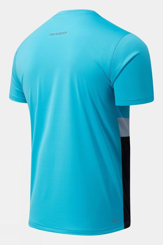 New Balance Mens Striped Accelerate Short Sleeve Black/Virtual Sky