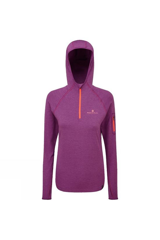 Ronhill Women's Momentum Workout Hoodie  Grape Juice/Hot Coral