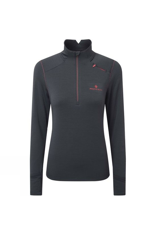 Ronhill Womens Stride Matrix 1/2 Zip Charcoal/Hot Pink