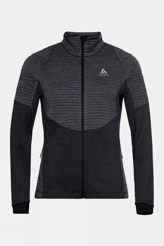 Odlo Womens Millennium Yakwarm Full Zip Midlayer Top Black Melange