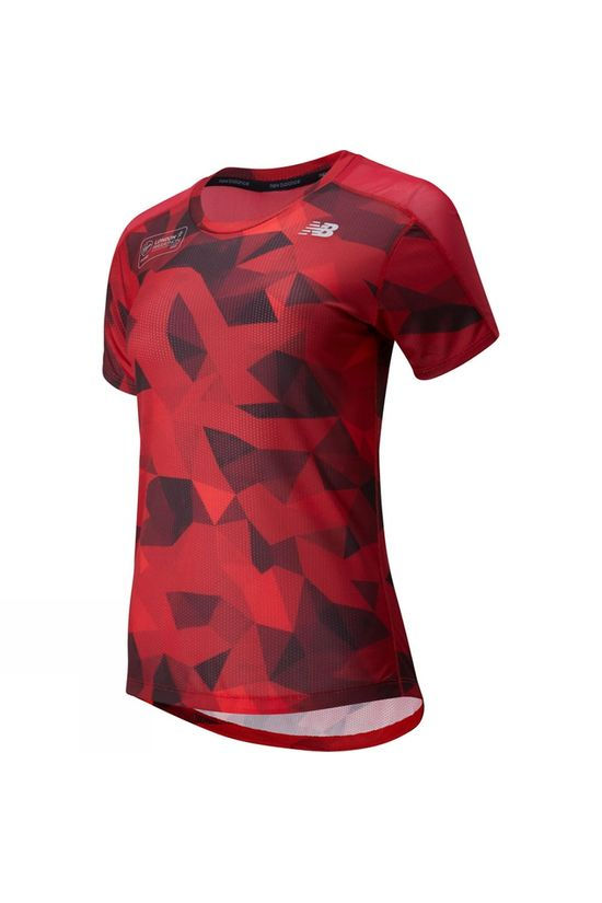 New Balance Women's London Edition Printed Impact Run Short Sleeve Tee Deep Red