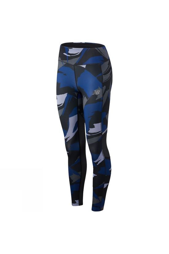 New Balance Womens Printed Impact Tights Techtonic Blue