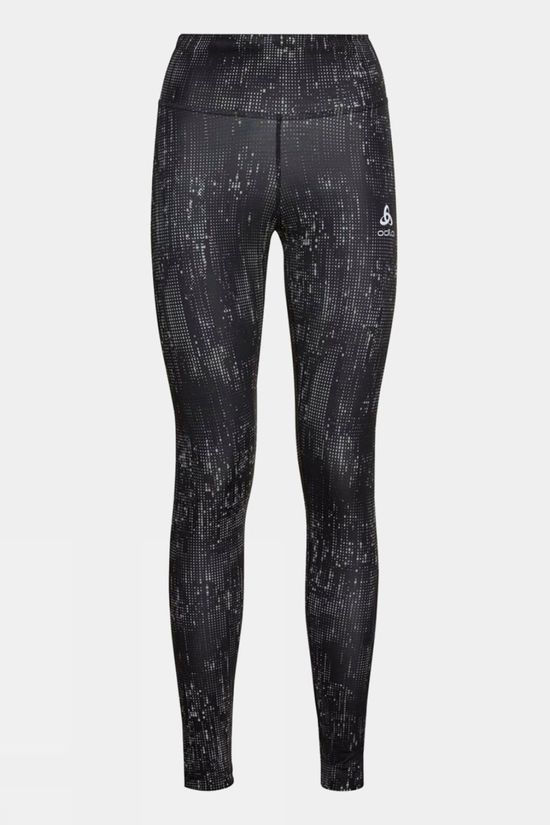Odlo Womens Zeroweight Print Reflective Tights Black - Reflective Graphic Fw20