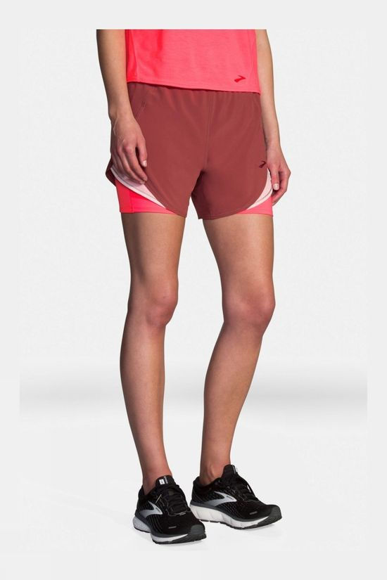 Brooks Women's Chaser 5in 2 in 1 Short Terracotta/Rosewater