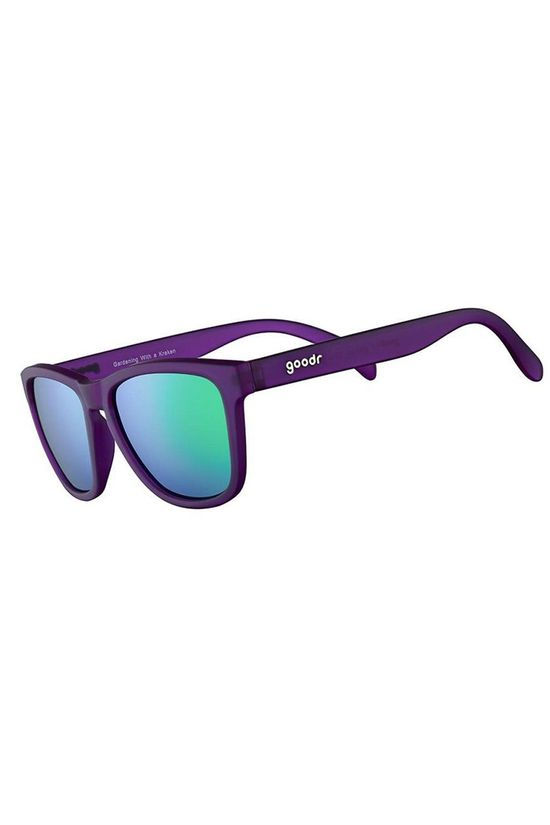 Goodr Gardening with a Kracken Purple with Teal Lens