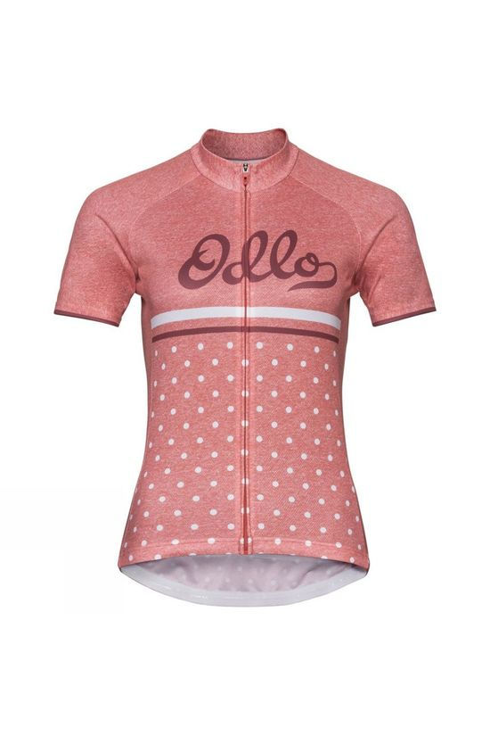 Odlo Womens Fujin Print Stand-Up Collar Jersey Faded Rose - Retro