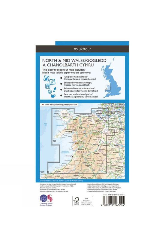 Ordnance Survey Wales North & Mid Tour Map V16