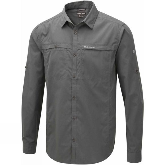 Craghoppers Mens Kiwi Trek Long Sleeve Shirt Ashen