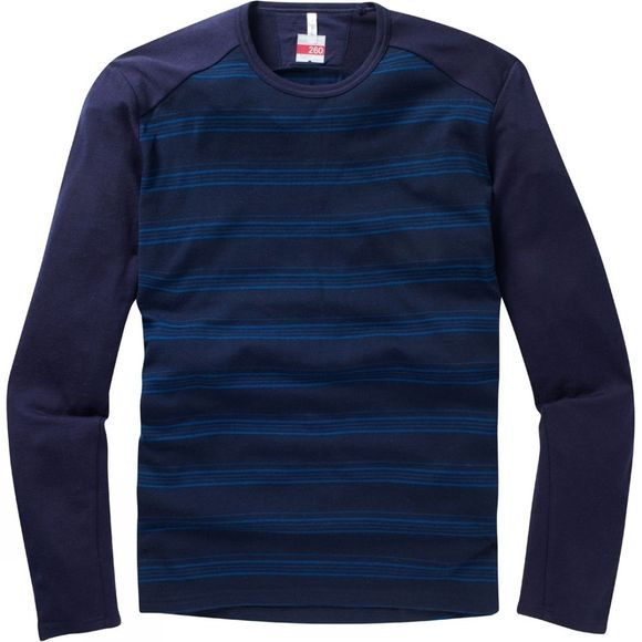 Icebreaker Mens Tech Long Sleeve Crewe Stripe Admiral Overdye