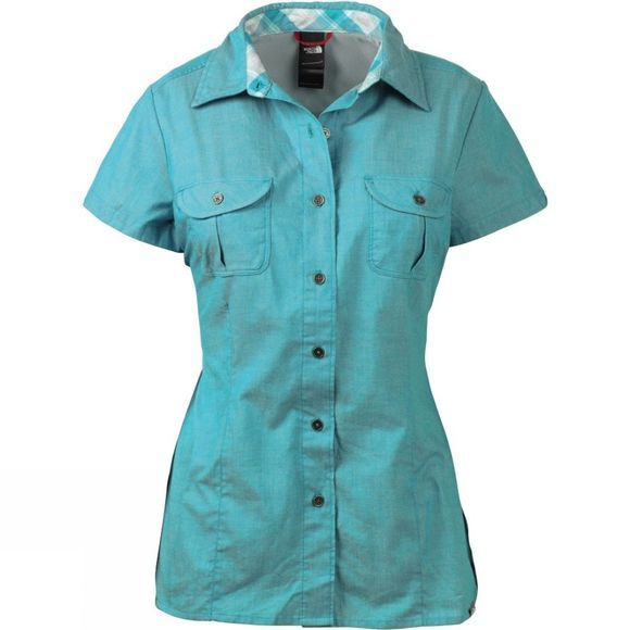 The North Face Womens Short Sleeve Rincon Woven Shirt Jaiden Green Chambray