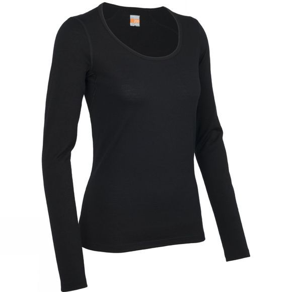 Icebreaker Womens Oasis Long Sleeve Scoop Black