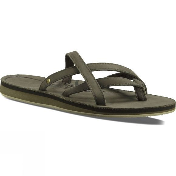 Teva Womens Olowahu Leather Flip Flop Black Olive