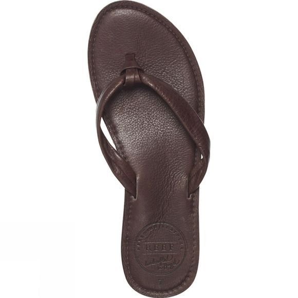 Reef Womens Creamy Leather Flip Flop Dark Brown