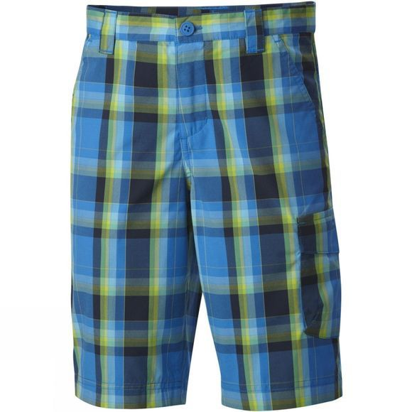 Columbia Boys Silver Ridge III Shorts Hyper Blue Large Plaid