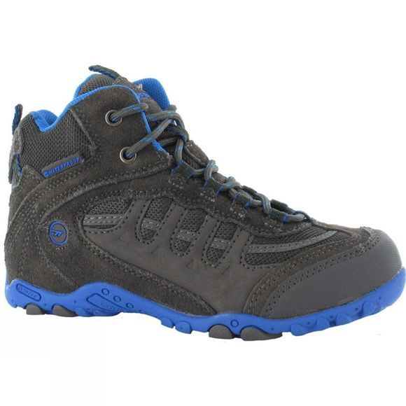 Hi-Tec Kids Penrith Mid WP Boot Charcoal/Cobalt Blue