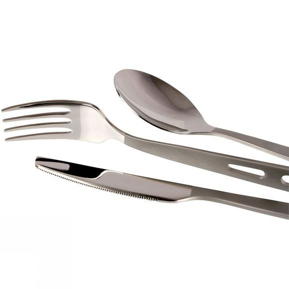 Lifeventure Basic Knife, Fork + Spoon Set Stainless Steel