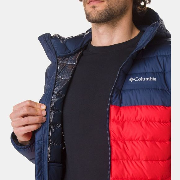 Columbia Mens Powder Lite Hooded Jacket Mountain Red/ Collegiate Navy