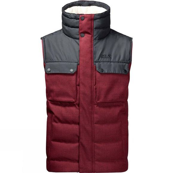 Jack Wolfskin Mens Banff Springs Vest Dark Red Checks