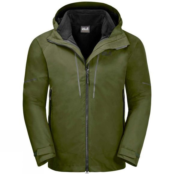 Jack Wolfskin Mens Sierra Trail 3In1 Jacket Cypress Green