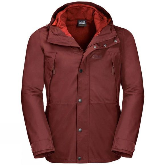 Jack Wolfskin Mens West Harbour 3In1 Jacket Redwood