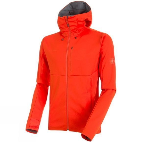 Mammut Mens Ultimate V SO Hooded Jacket  Dark Orange/Titanium Melange