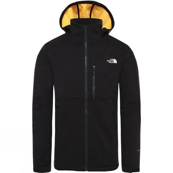 The North Face Mens Kabru Softshell Hooded Jacket Tnf Black/Tnf Yellow