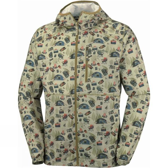 Columbia Mens Flash Forward Windbreaker Print Jacket British Tan Camper Print