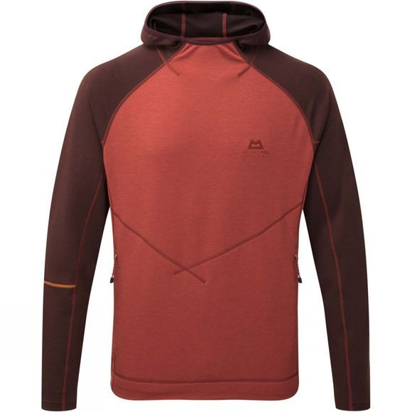 Mountain Equipment Mens Clarion Hooded Crew Top Henna/Dk Choc