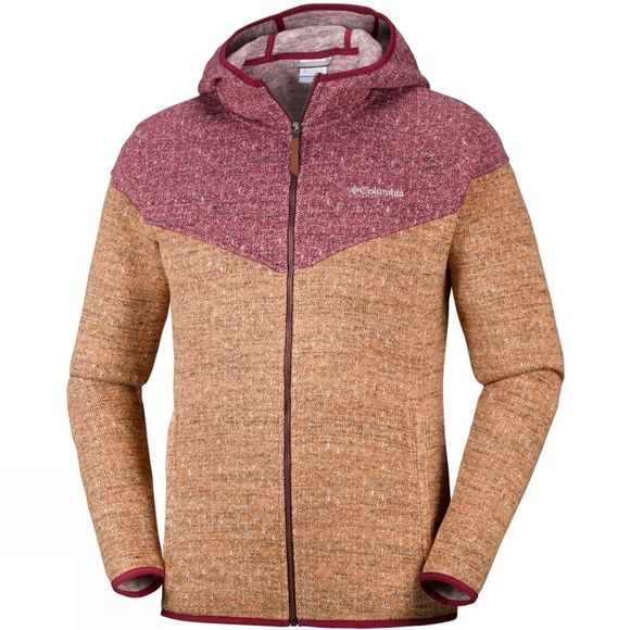 Columbia Mens Boubioz Hooded Full Zip Fleece Canyon Gold/ Red Element