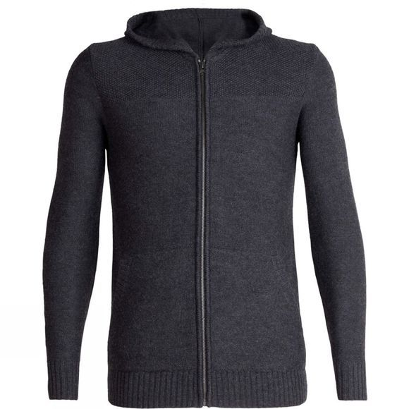 Icebreaker Mens Waypoint LS Zip Hood Sweater Charcoal Heather