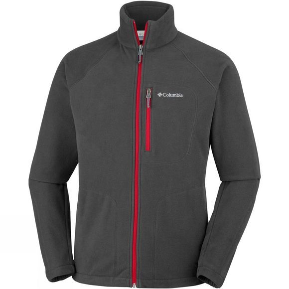 Columbia Mens Fast Trek II Full Zip Fleece Shark/ Mountain Red