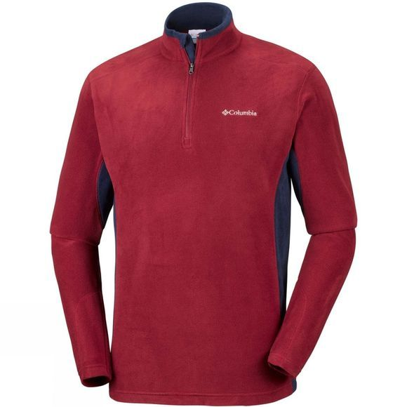 Columbia Mens Klamath Range II Half Zip Red Element/ Collegiate Navy