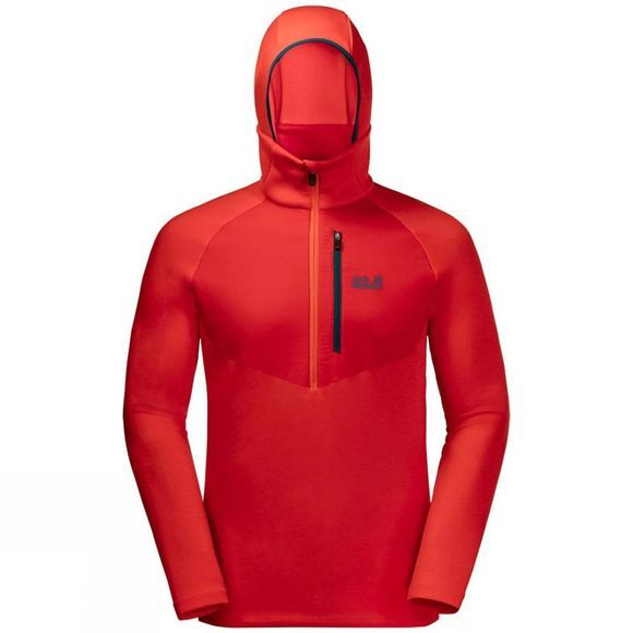 Jack Wolfskin Mens Narvik Trail Half Zip Fleece Fiery Red